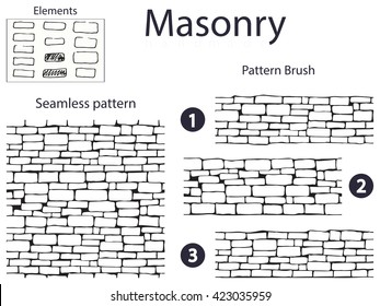 Black and white seamless pattern and 3 brush drawing in the form of stone masonry. And a set of doodle elements from which they are made.