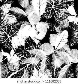 Black and white seamless pattern  Abstract seamless background  with leaves and flowers