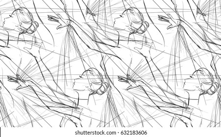 Black and White Seamless Pattern of Ballerinas, Freehand Drawing. Psychedelic Monochrome Background. Vector Illustration of Ballet Dancers Girls. Design for Fabric, Lace or Wallpaper. Fashion Print.