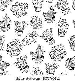 black and white seamless pattern with cactus sketches, hand drawing style, vector illustration, outline on white background