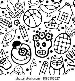 Black and white seamless pattern with characters and objects. Vector endless wallpaper for coloring.
