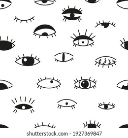 The Black and white seamless pattern consists of hand-drawn graphics. Eyes vector flat illustration, symbol of evil, magic, evil eye isolated on white background. Fabric, textiles, gifts, wallpaper