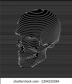Black and white seamless pattern of continuous line giving shape to a skull.