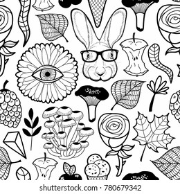 Black and white seamless pattern with cool hare in glasses. Vector floral wallpaper for adult coloring.