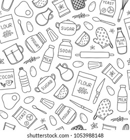 Black and white seamless pattern with doodle outline cooking, baking ingredients.