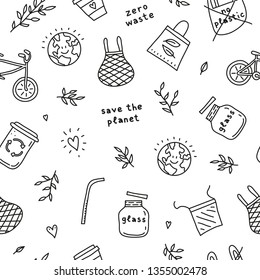 Black and white seamless pattern with doodle outline ecological icons. Zero waste life concept.