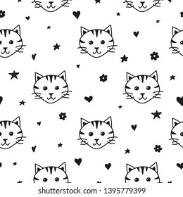 Black and white seamless pattern with doodle cat faces, hearts, flowers and stars.