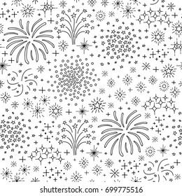 Black and white seamless pattern with doodle outline fireworks and petards.