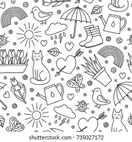 Black and white seamless pattern with doodle outline spring seasonal items.