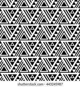 Black and white seamless pattern with ethnic motives and grunge effect. Aztec stylized print template for fabric and paper. Summer fashion. Tribal background.