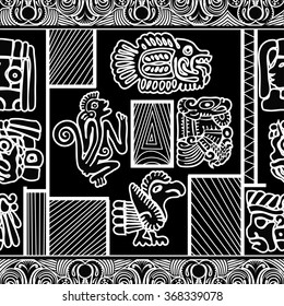 Black and white seamless pattern with Fish, Monkey and Birds. Vector illustration