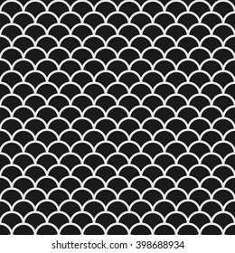 Black and white seamless pattern with fish scales in japanese style