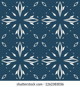 Black and white seamless pattern with floral and geometrical ornament in a retro style. Vector illustration