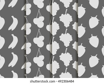 Black and white seamless pattern with fruit. Pattern of bananas, cherries, strawberries and grapes. Vector background.