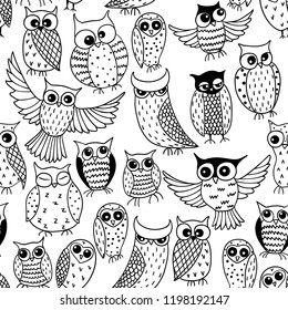 Black and white seamless pattern with funny owls