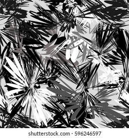 Black and white seamless pattern with grunge stripes radial elements