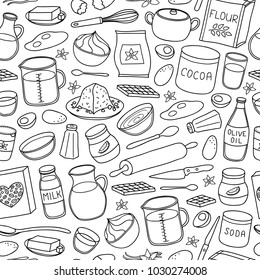Black and white seamless pattern with hand drawn outline cooking, baking ingredients.