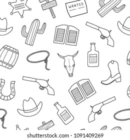 Black and white seamless pattern with hand drawn outline Wild West elements.