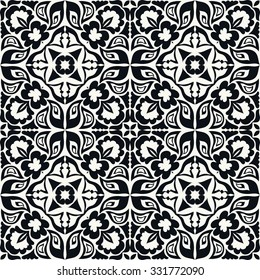 Black and white seamless pattern, hand drawn abstract background. Geometric floral ornament, tribal ethnic arabic indian motif.