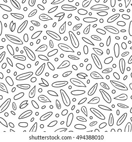 Black and white seamless pattern with hand drawn outline cereal grains.