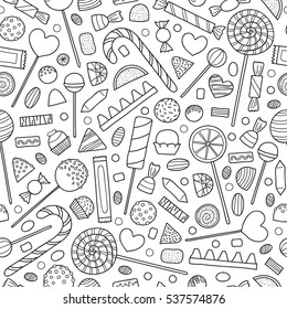 Black and white seamless pattern with hand drawn outline candies.