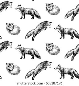 Black and white seamless pattern with hand drawn foxes