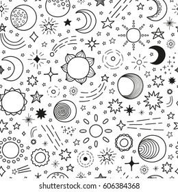Black and white seamless pattern with hand drawn stars, sun and moon.