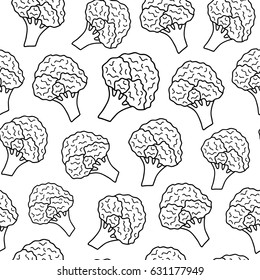 Black and white seamless pattern with hand drawn outline broccoli.
