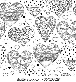 black and white seamless pattern with hearts. abstract vector doodle art print.  Wallpaper, cloth design, fabric, paper, wrapping, postcards, textile, coloring book.  hand drawn