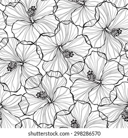 Black and white flowers outline images stock photos vectors black and white seamless pattern with hibiscus flowers mightylinksfo Gallery