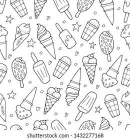 Black and white seamless pattern with ice cream
