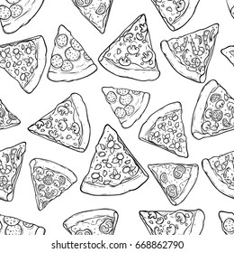 black and white seamless pattern kind of pizza slice using doodle or sketch style