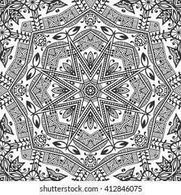 Black and white seamless pattern with mandala round circular ornament, geometric floral repeating texture. Tribal ethnic arabic indian turkish pattern. Decorative vector monochrome background