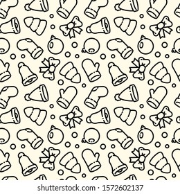 Black and white seamless pattern on the theme of the new year