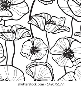 Black and white Seamless pattern with outline sketchy poppy. Monochrome Floral background wallpaper. Flower ornament good for web, print and wrapping paper.