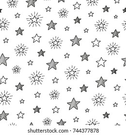 Black and white seamless pattern with outline stars.
