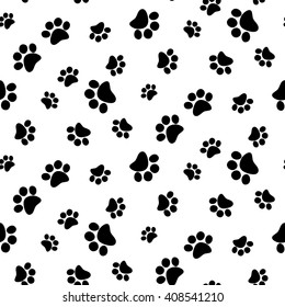 399fb5b49845 Black and white seamless pattern with paw prints. Abstract background, animal  footprint, vector