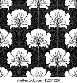 Black and white seamless pattern with pink flowers on blue background. Art nouveau style.