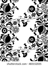 Black and white seamless pattern of pomegranate branch with flowers, leaves, seeds and fruit