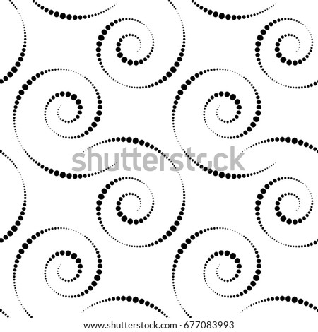 Black White Seamless Pattern Simple Spiral Stock Vector Royalty