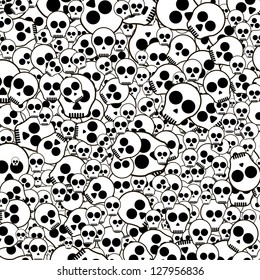 Black and white Seamless pattern with skulls on white background. EPS 10 vector illustration.