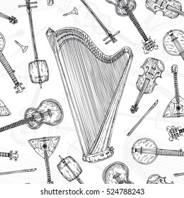 Black and White Seamless Pattern with String Musical Instruments. Black Contours on a White Background