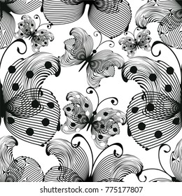 Black and white seamless pattern with stylized graphic butterflies