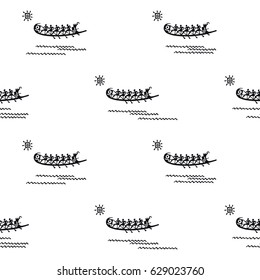 Black and white seamless pattern for textile, wallpapers, gift wrap. Phoenicia. Hand drawn ancient boats with oarsmen. Vector illustration.