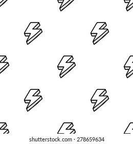 Black and white seamless pattern with thunderbolts in comic style