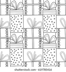 Black and white seamless patterns with gift boxes for coloring book. Festive background