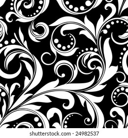 Black and white seamless from  plant(can be repeated and scaled in any size)