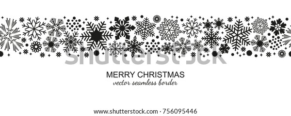 Black and white seamless snowflake border, Christmas design for greeting card. Vector illustration, merry xmas snow flake header or banner, wallpaper or backdrop decor