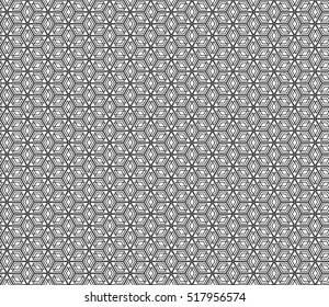 Black and white Seamless texture of cubes. Optical illusion. Vector illustration.