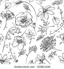 black and white seamless texture with wildflowers